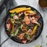 Sesame Salmon Soba Noodle Salad. A delicious, healthy Chrissy Teigen Recipe. www.everylittlecrumb.com