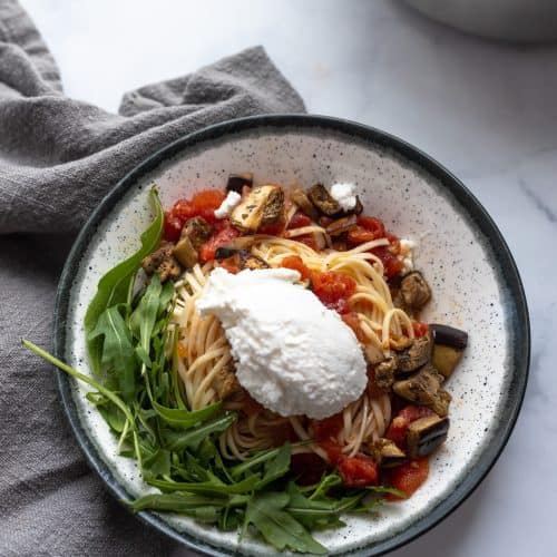 Super easy spicy eggplant pasta with ricotta cheese