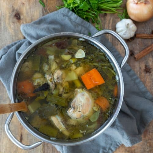 Easy Homemade Chicken Broth made with Whole Chickens and Vegetables