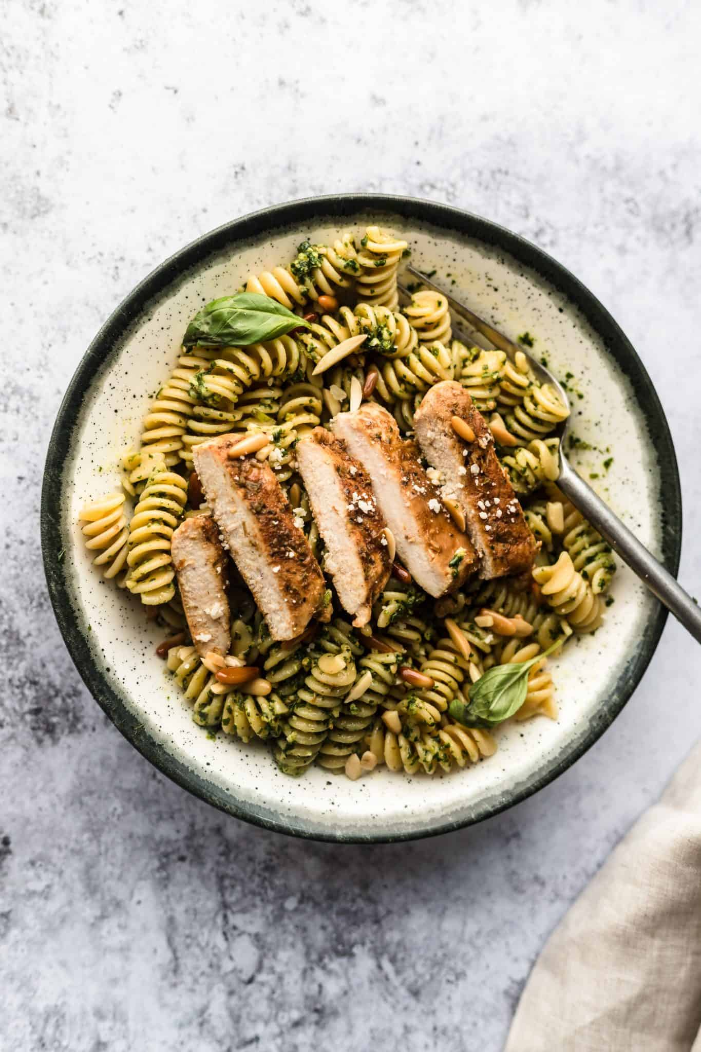 Basil Pesto Chicken Pasta Easy Homemade Pesto Every Little Crurmb