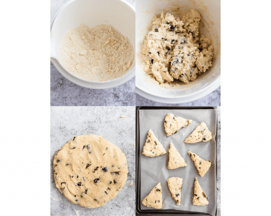 steps in mixing the dough for scones