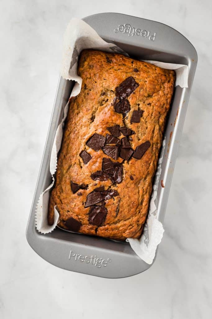 banana bread baked in a loaf pan