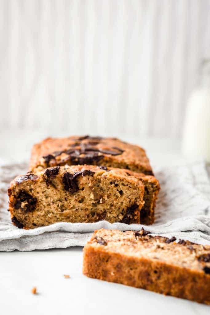 Cut up banana bread with milk in the background