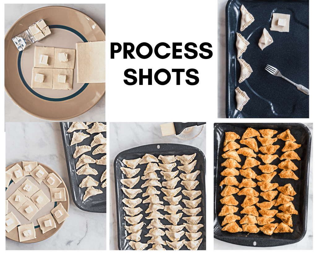 Process shots of puff pastry bites