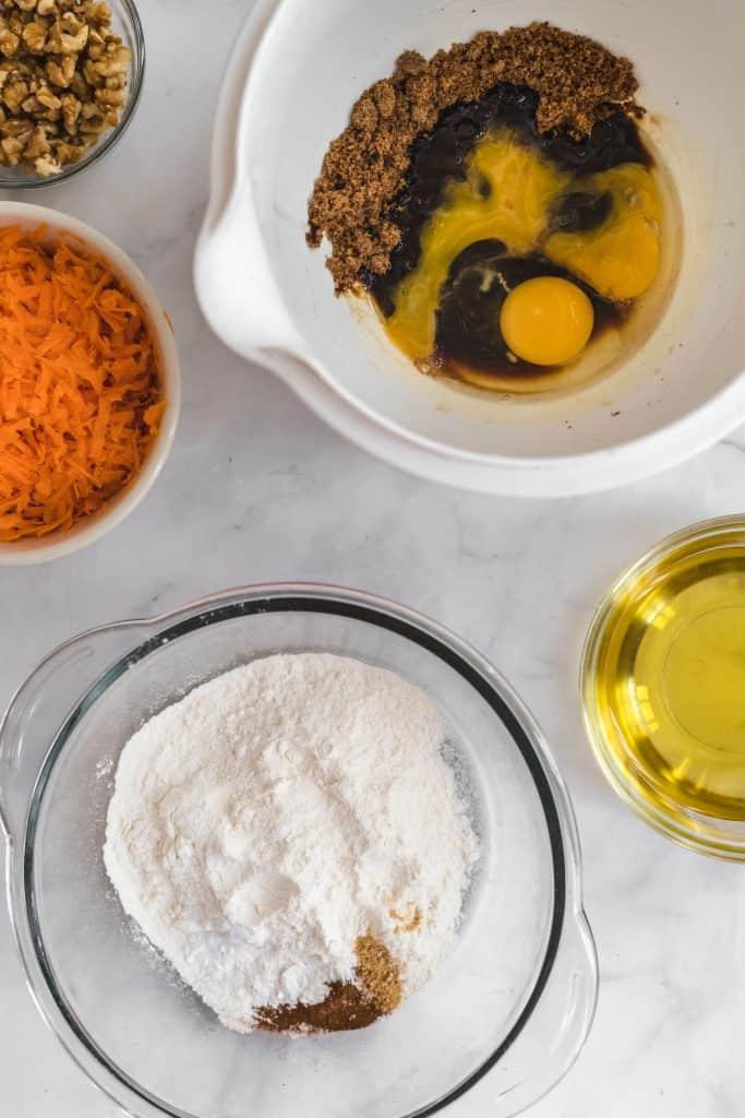 Ingredients to prep carrot cake