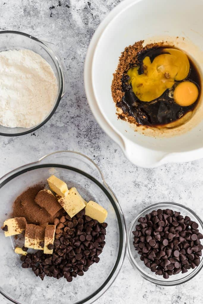 Ingredients to prep brownies with chocolate chips