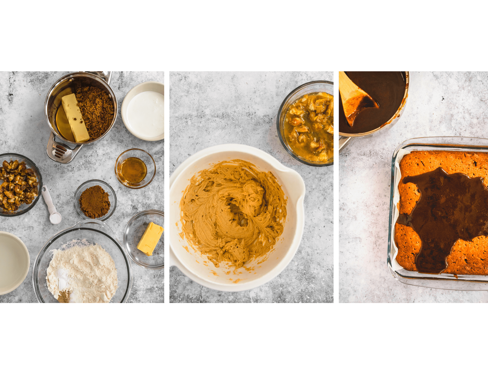 different preparation stages for date cake