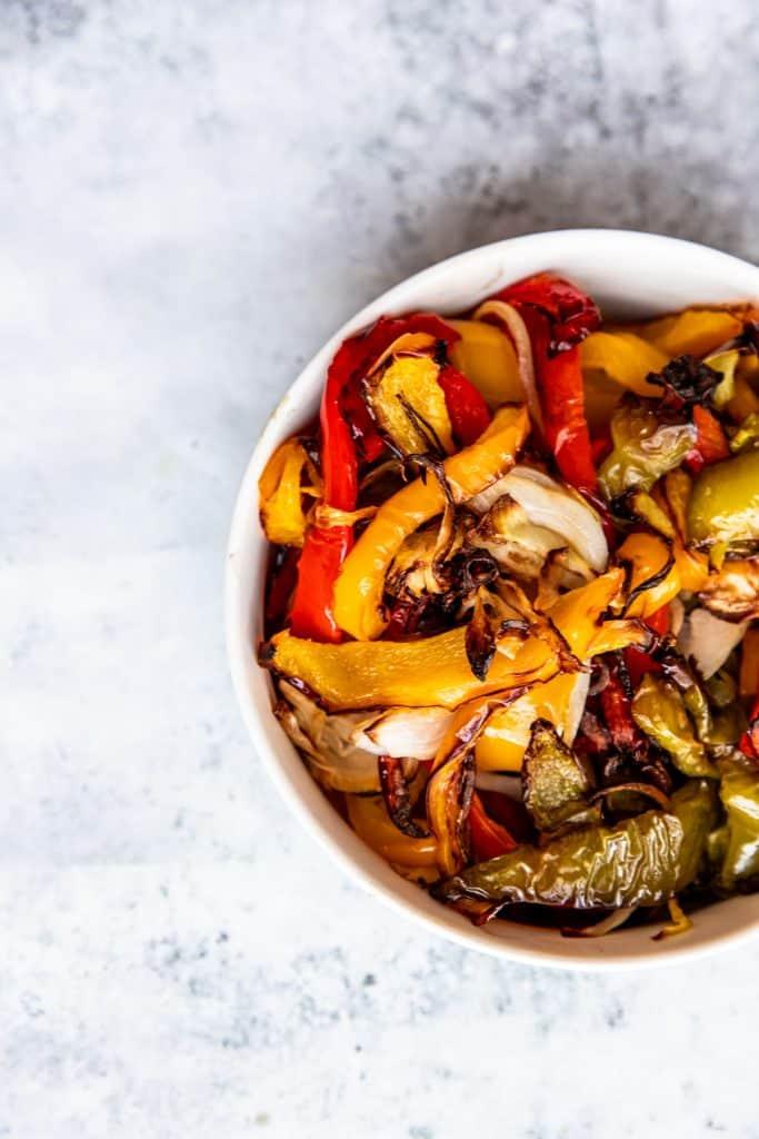 close up shot of air fryer fajita veggies