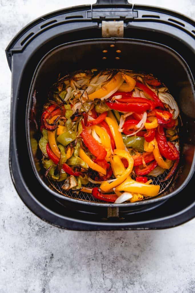 air fryer bell peppers in air fryer basket