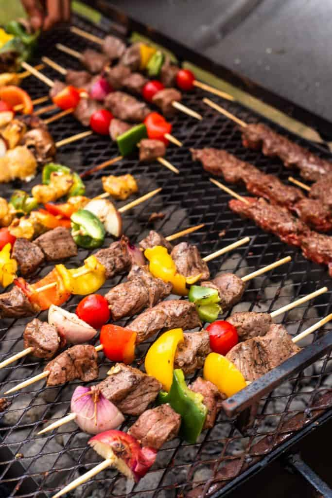 Arabic grill skewers on a bbq being cooked