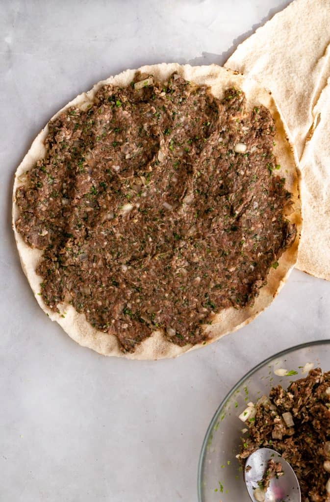 kafta mix spread on pita bread