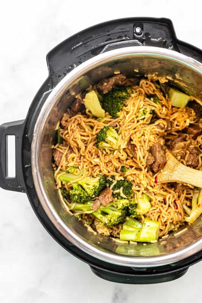 ready instant pot beef broccoli noodles inside the instant pot