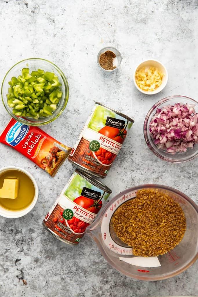 ingredients to make bulgar pilaf