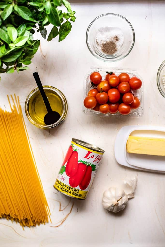 all the ingredients needed to make cherry tomato pasta