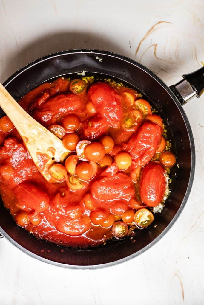 cooked cherry tomato sauce before blending