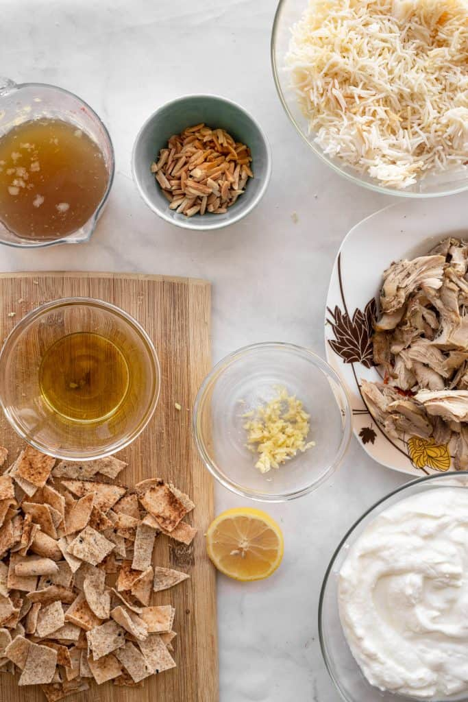 all the ingredients needed to make chicken fatteh