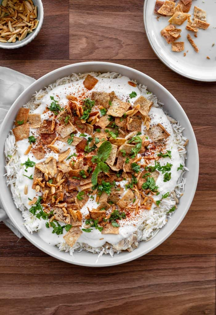 large plate of assembled and garnished fatteh