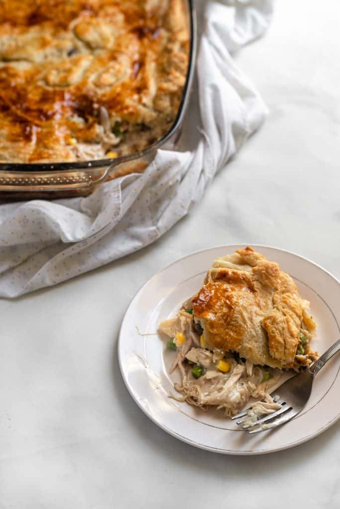 Chicken mushroom pie with a slice cut out