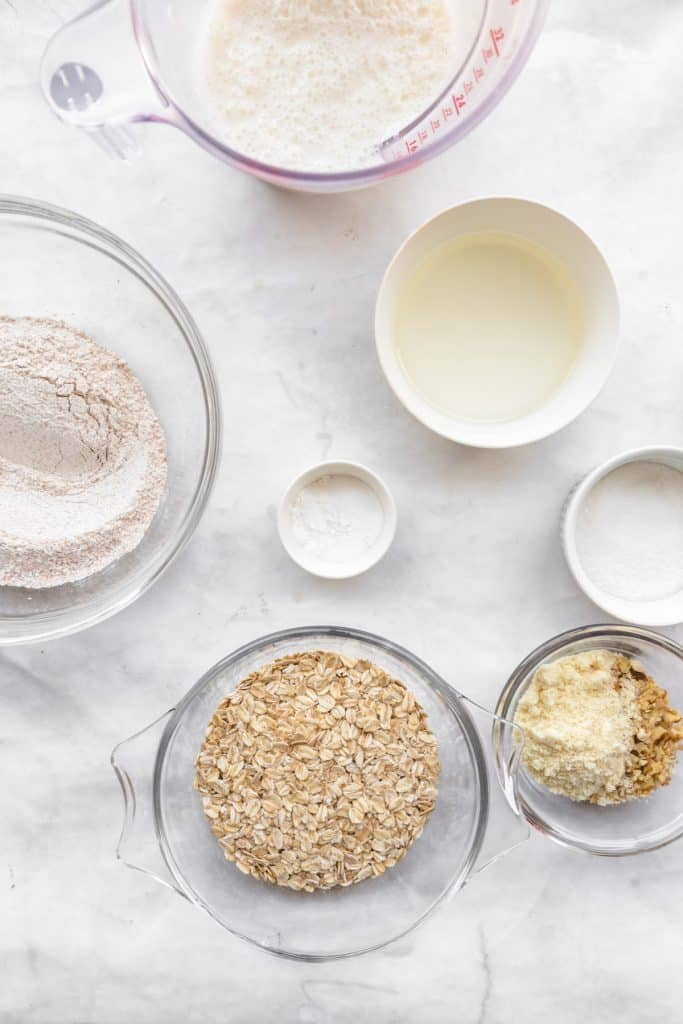 ingredients needed to make harvest grain and nut pancakes