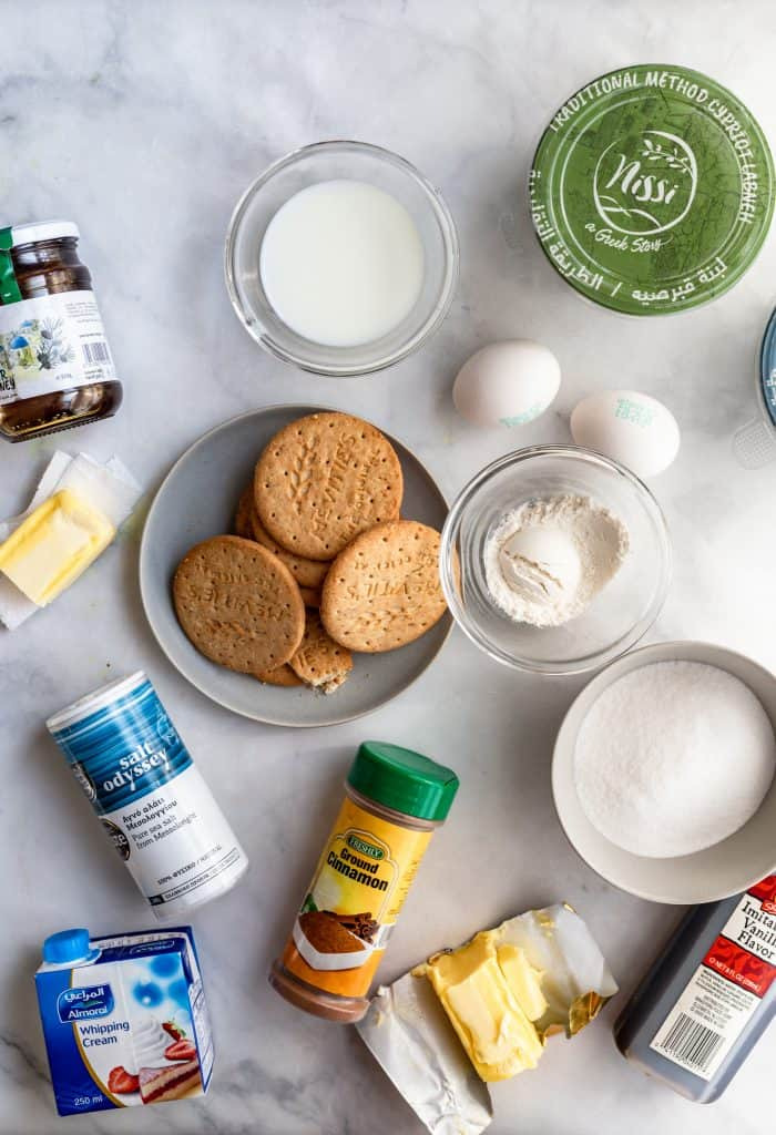 ingredients needed to make labneh cheesecake bars with honey caramel sauce