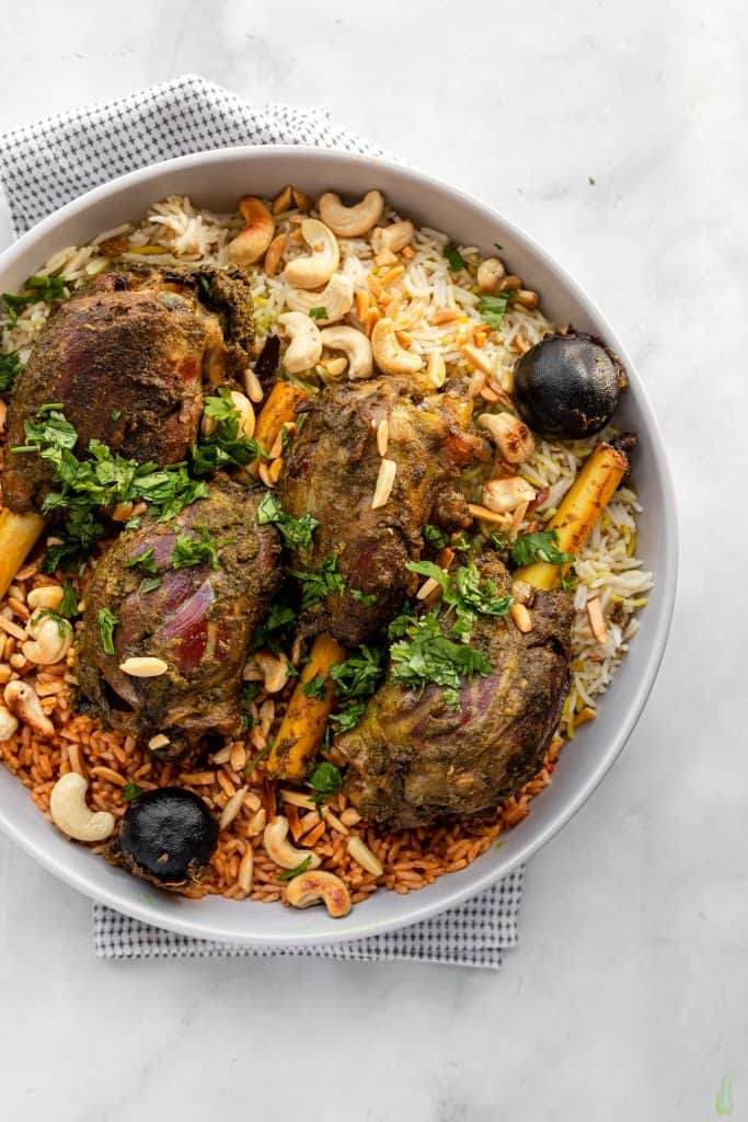 rice and lamb dish in a bowl