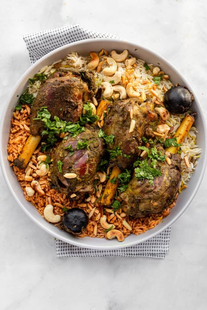 rice and lamb shanks in a bowl