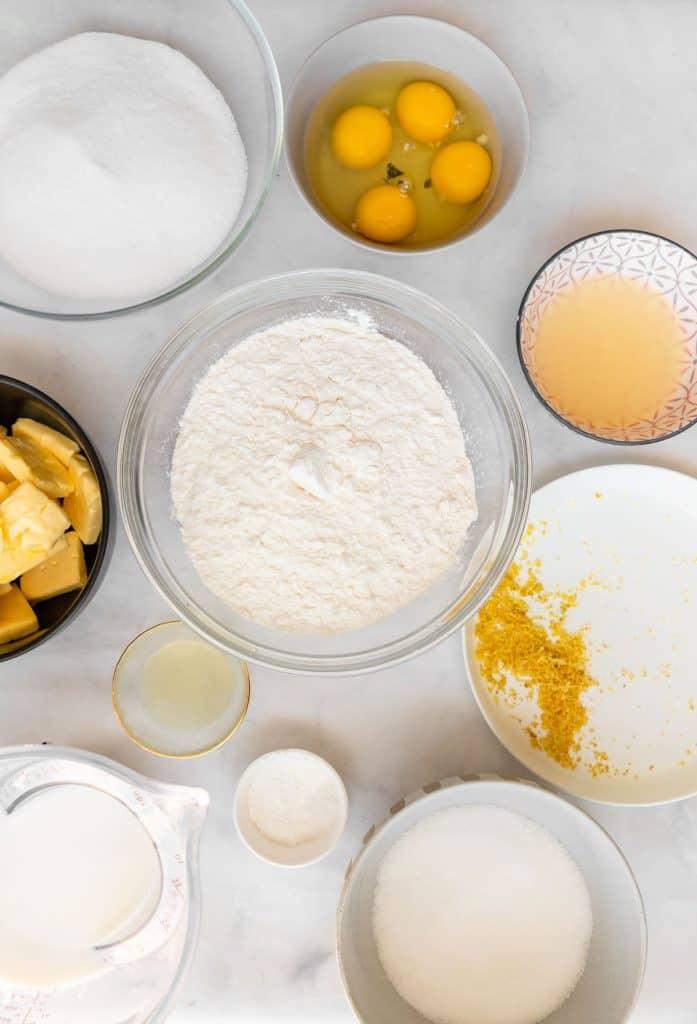 ingredients needed to make lemon bundt cake