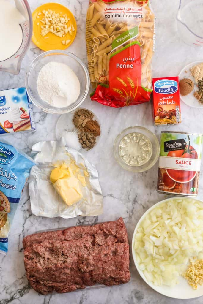 all the ingredients needed to make pasta