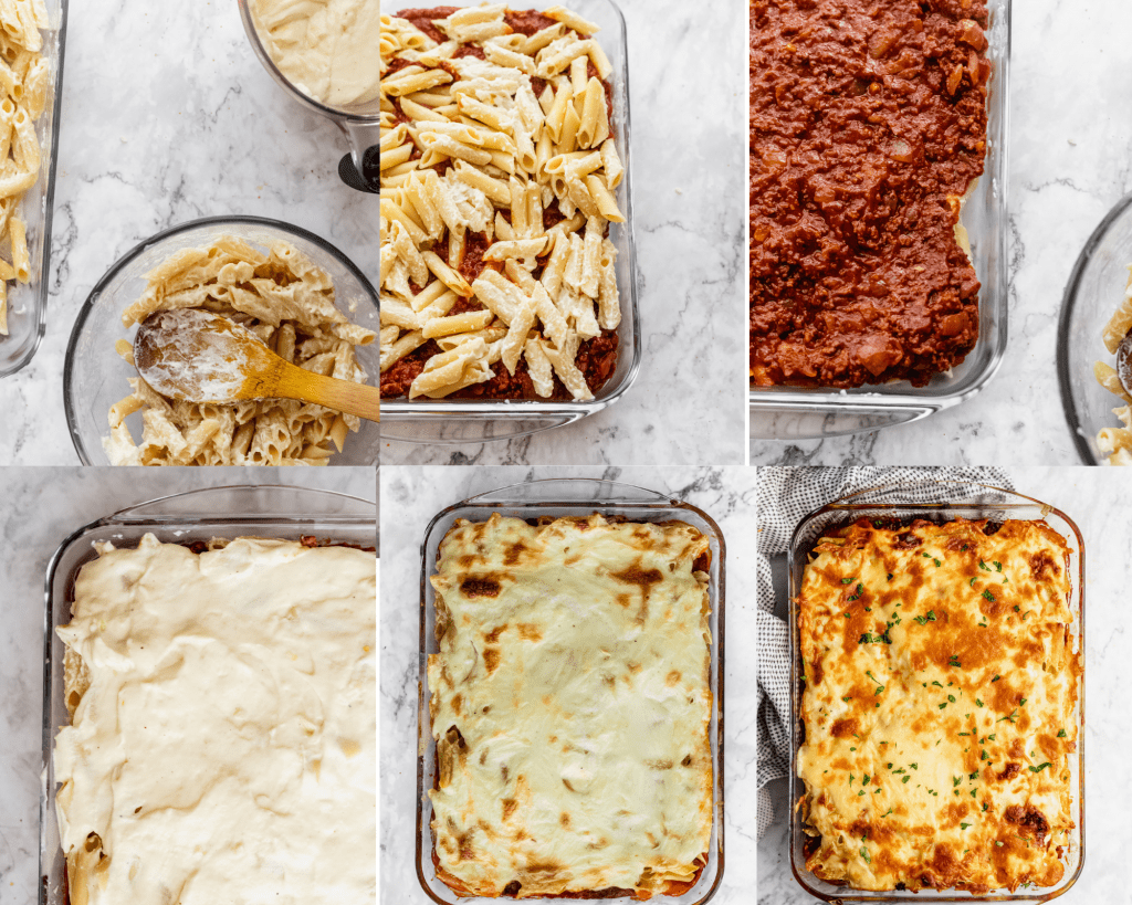 collage of step by steps in assembling bechamel baked pasta