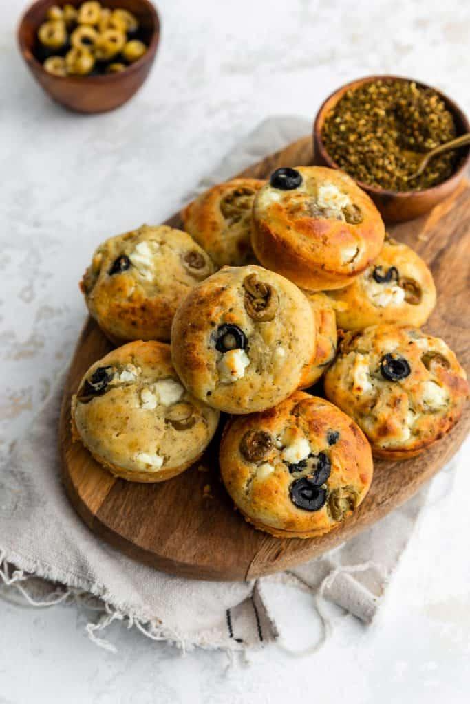 close up shot of feta olive muffins