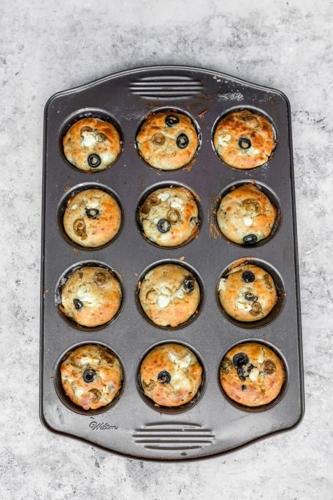 tray of feta muffins out of the oven