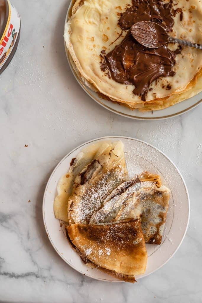 nutella crepes assembled on a palte