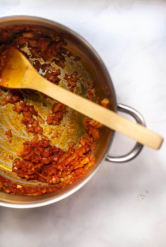 sauteed onions and tomato paste