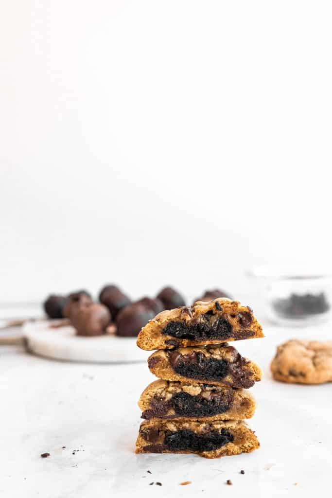 stack of oreo truffle stuffed cookies