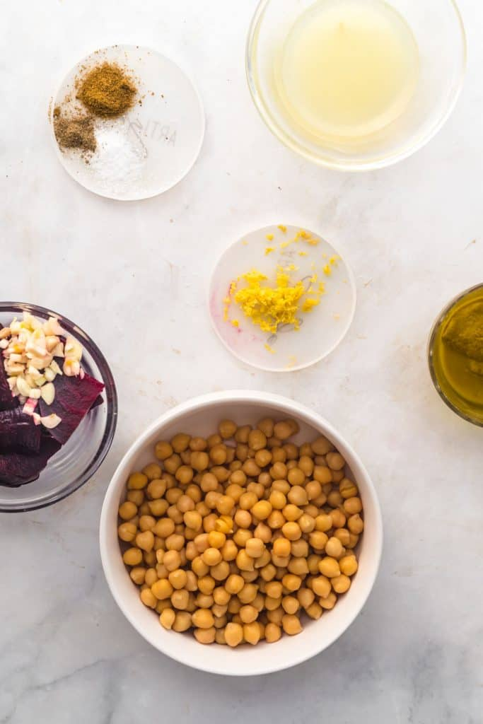 ingredients needed to make beet hummus in bowls