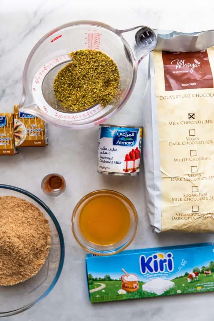 ingredients needed to make pistachio bars