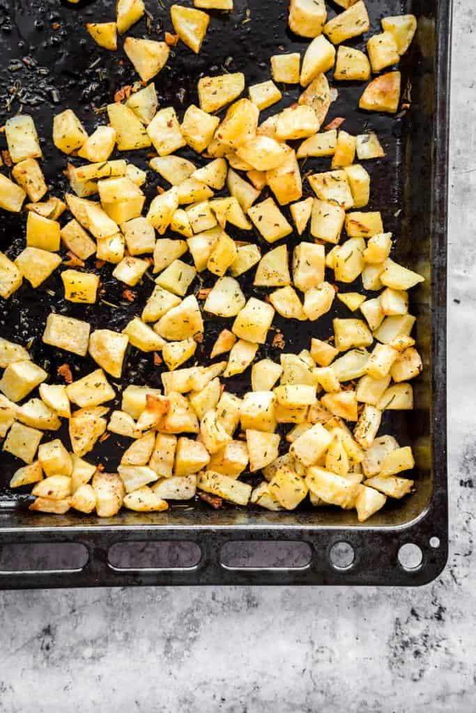 roasted potatoes parmentier on a baking sheet