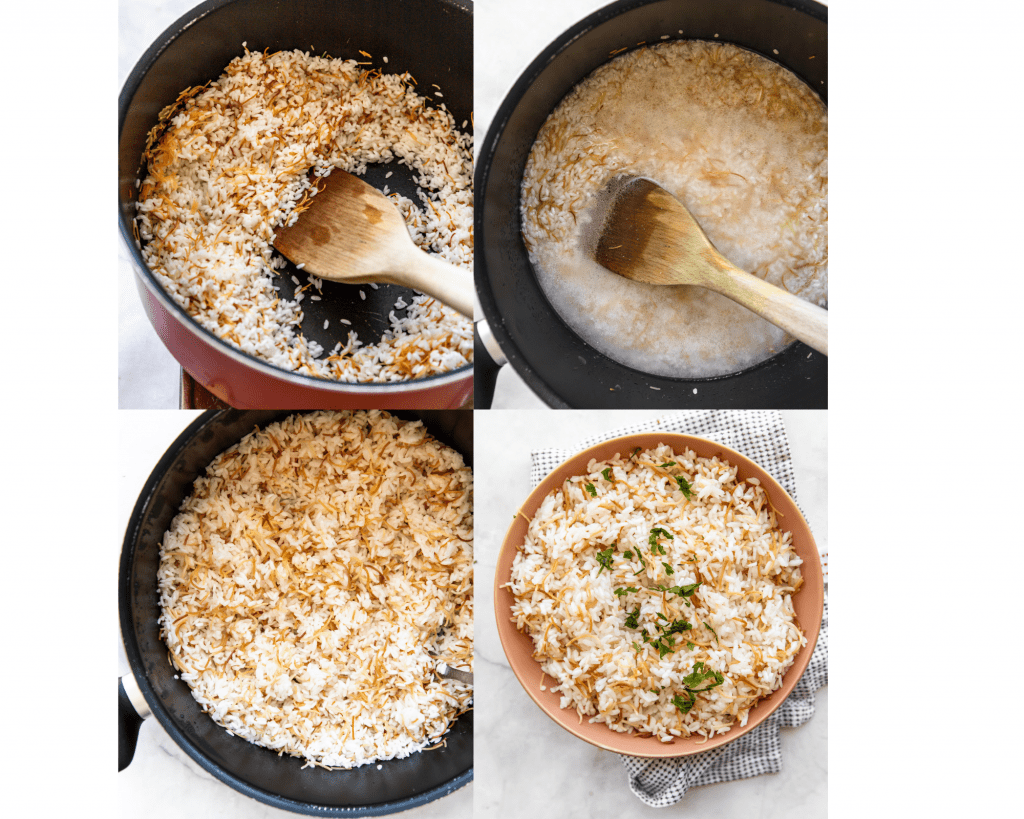 collage of all the steps needed to make Egyptian rice