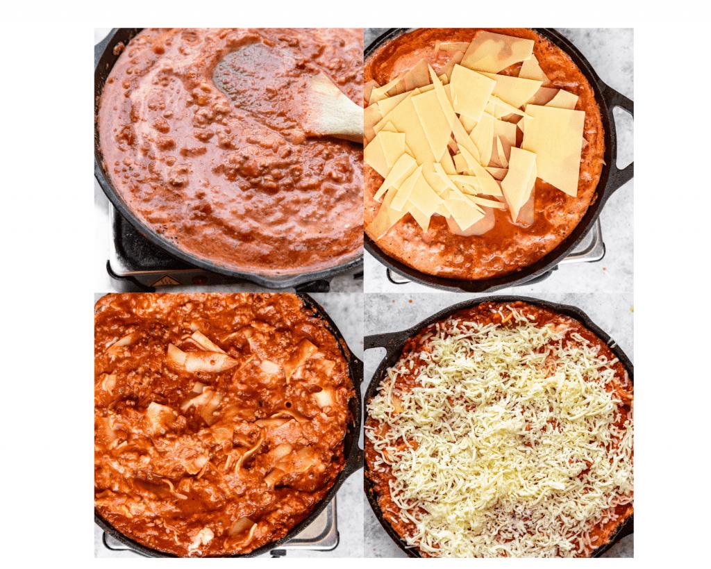 collage of steps to make skillet lasagna