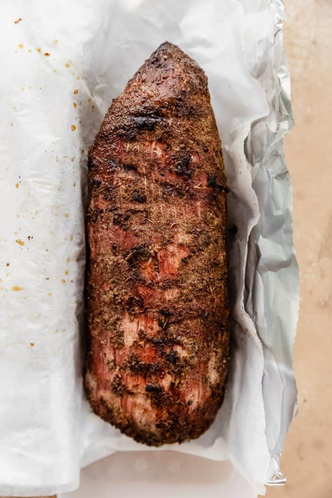 whole tenderloin in parchment paper after smoking