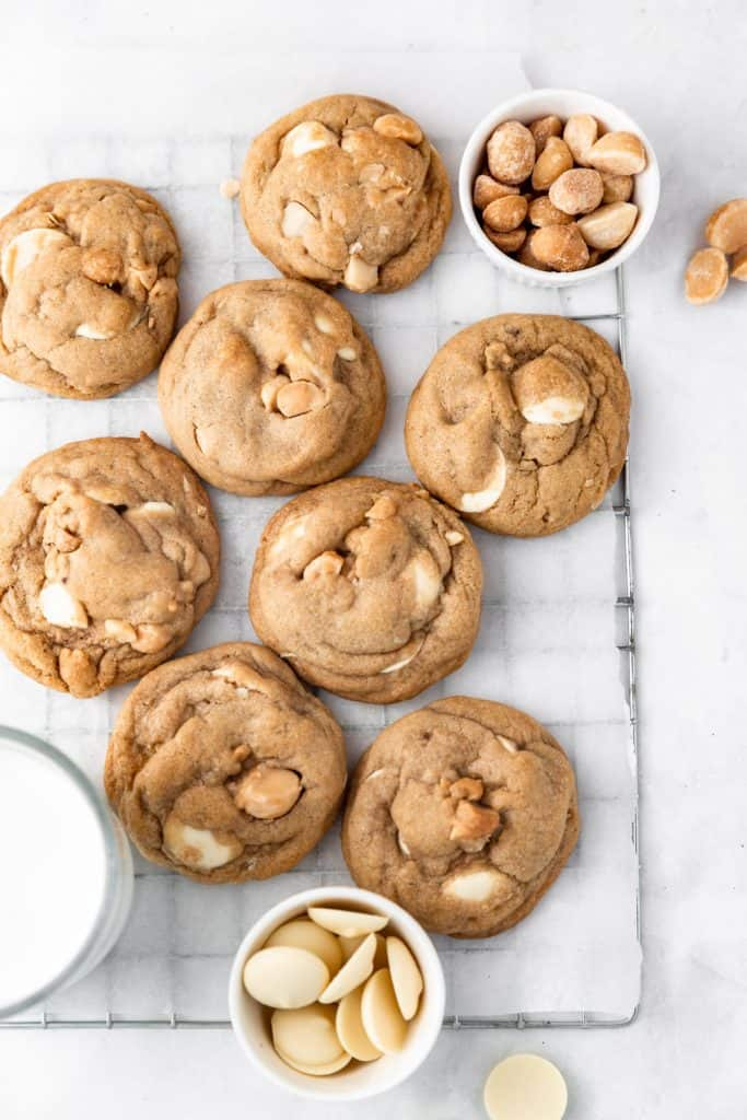 white chocolate macadamia cookies on parchment paper