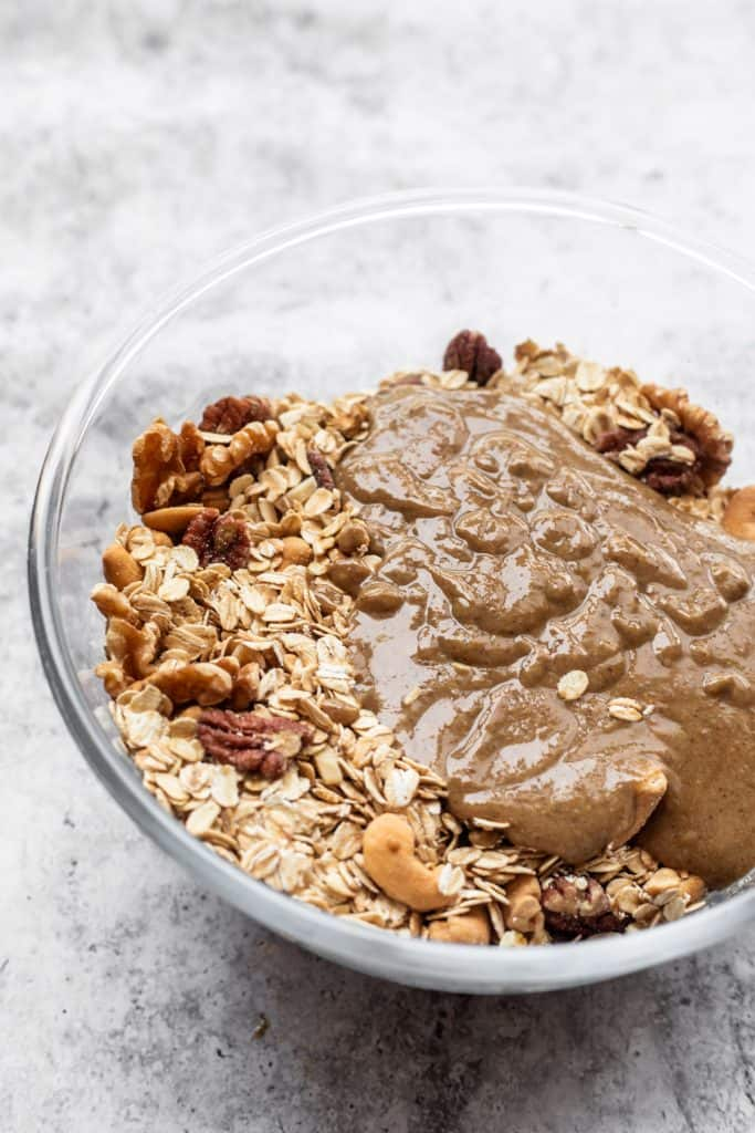 bowl of oats and tahini and nuts