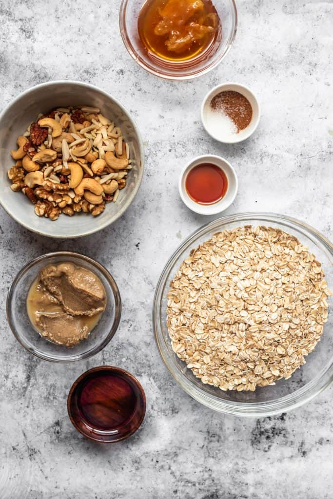 ingredients needed to make tahini granola in bowls