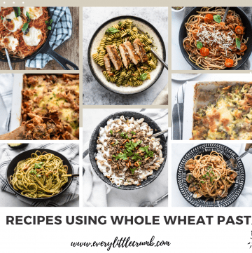 Collage of whole wheat pasta photos for recipe roundup