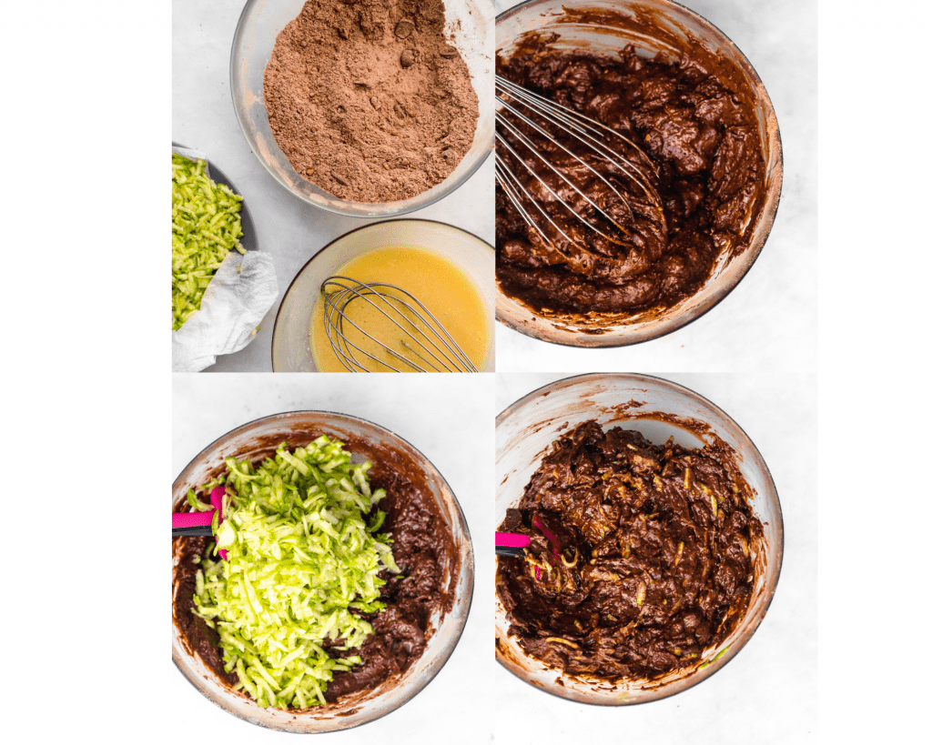 step by step photos of batter being mixed for chocolate zucchini bread